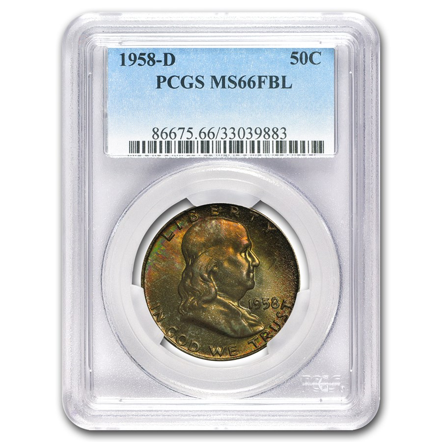 1958-D Franklin Half Dollar MS-66 PCGS (FBL, Toned)