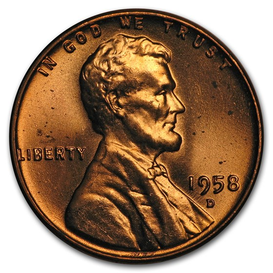 1958-D Lincoln Cent BU (Red)