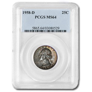 1958-D Washington Quarter MS-64 PCGS