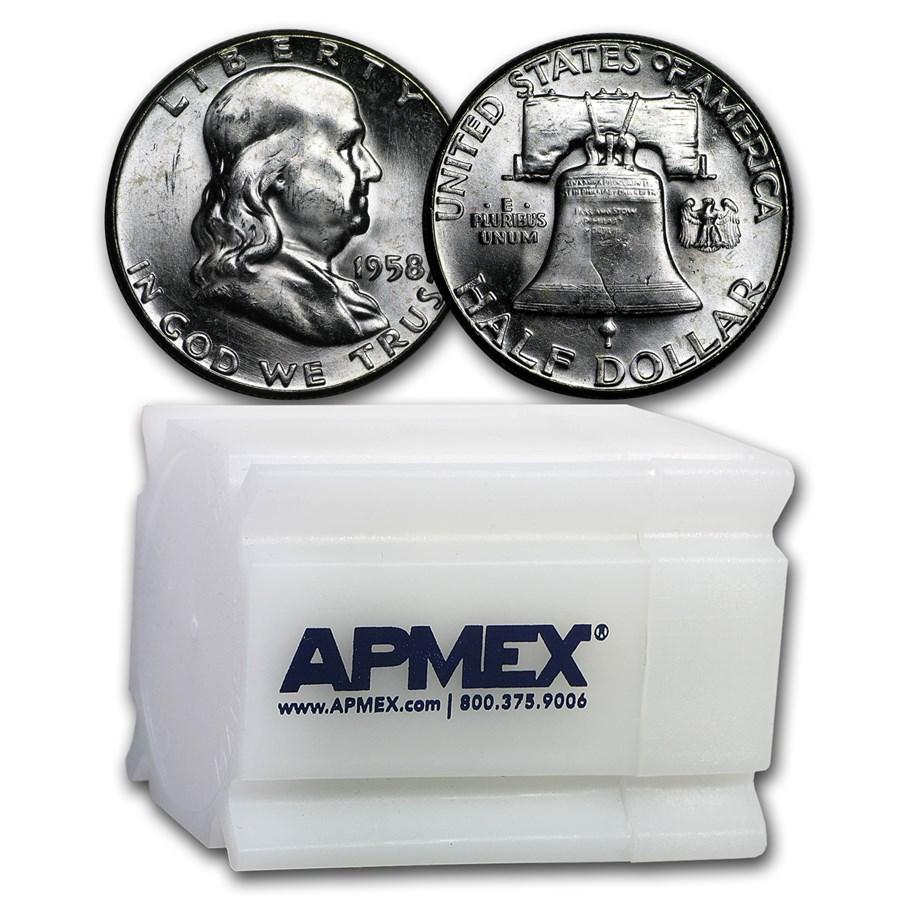 1958 Franklin Half Dollar 20-Coin Roll BU
