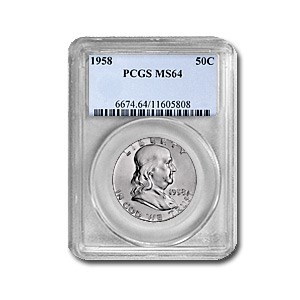 1958 Franklin Half Dollar MS-64 PCGS