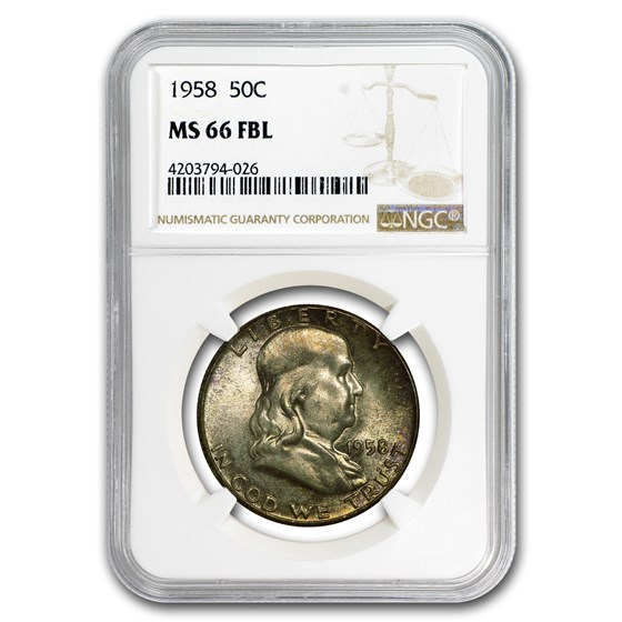 1958 Franklin Half Dollar MS-66 NGC (FBL)