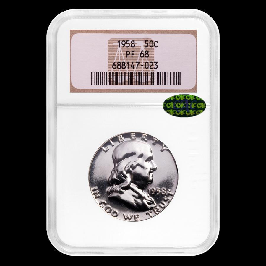 1958 Franklin Half Dollar PF-68 NGC (CAC)