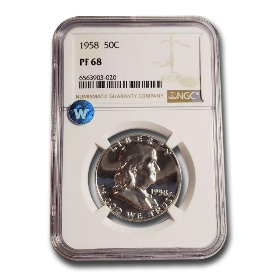 1958 Franklin Half Dollar PF-68 NGC