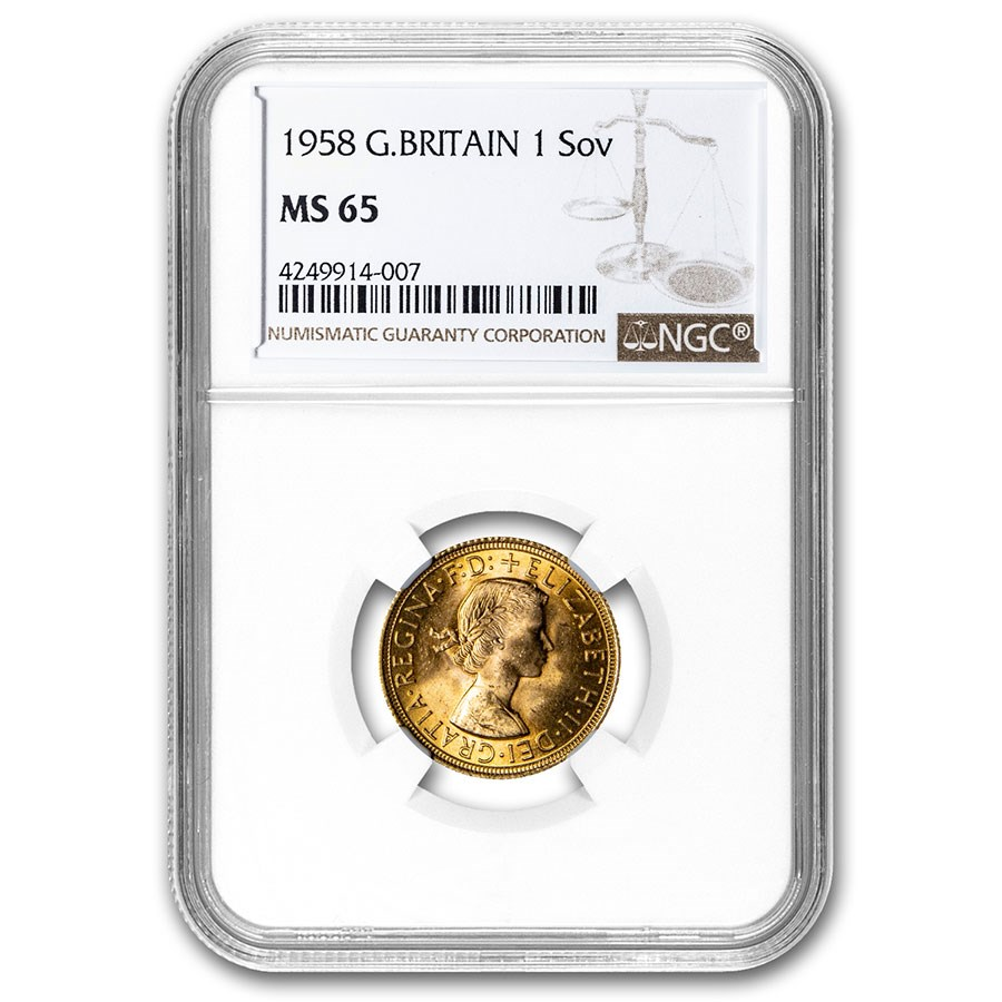 1958 Great Britain Gold Sovereign Elizabeth II MS-65 NGC