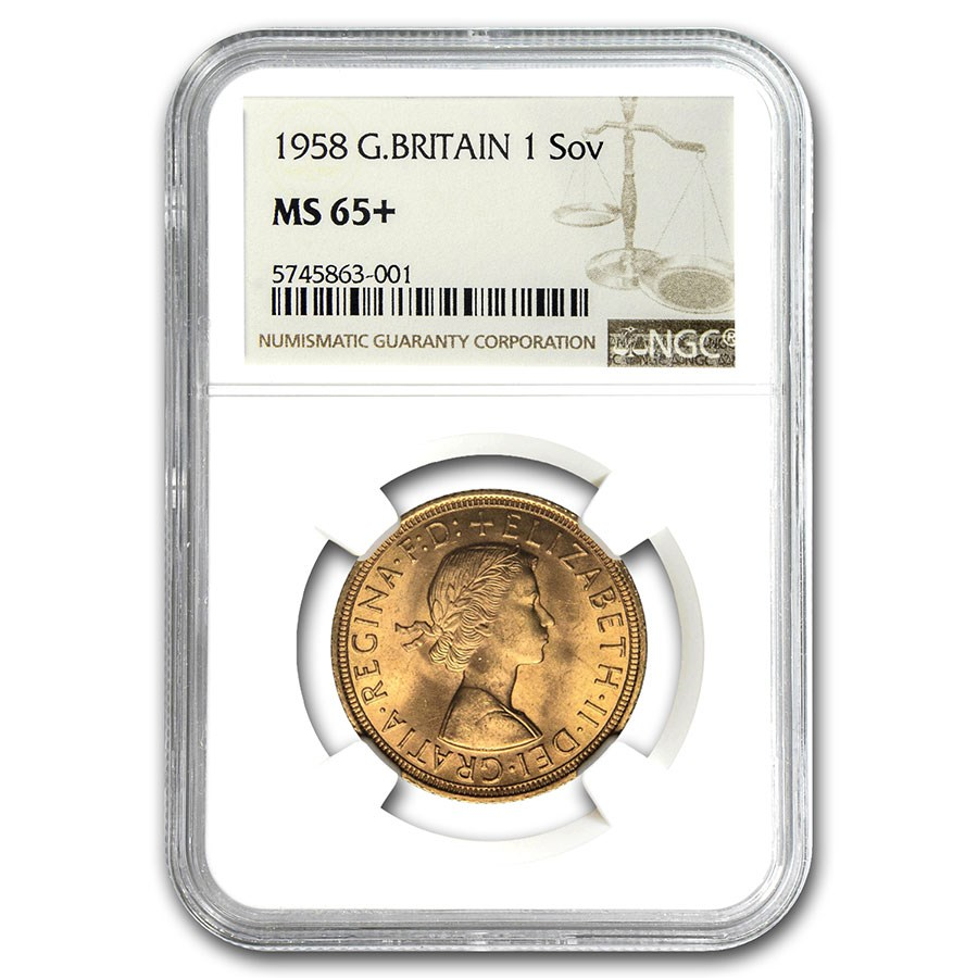 1958 Great Britain Gold Sovereign Elizabeth II MS-65+ NGC