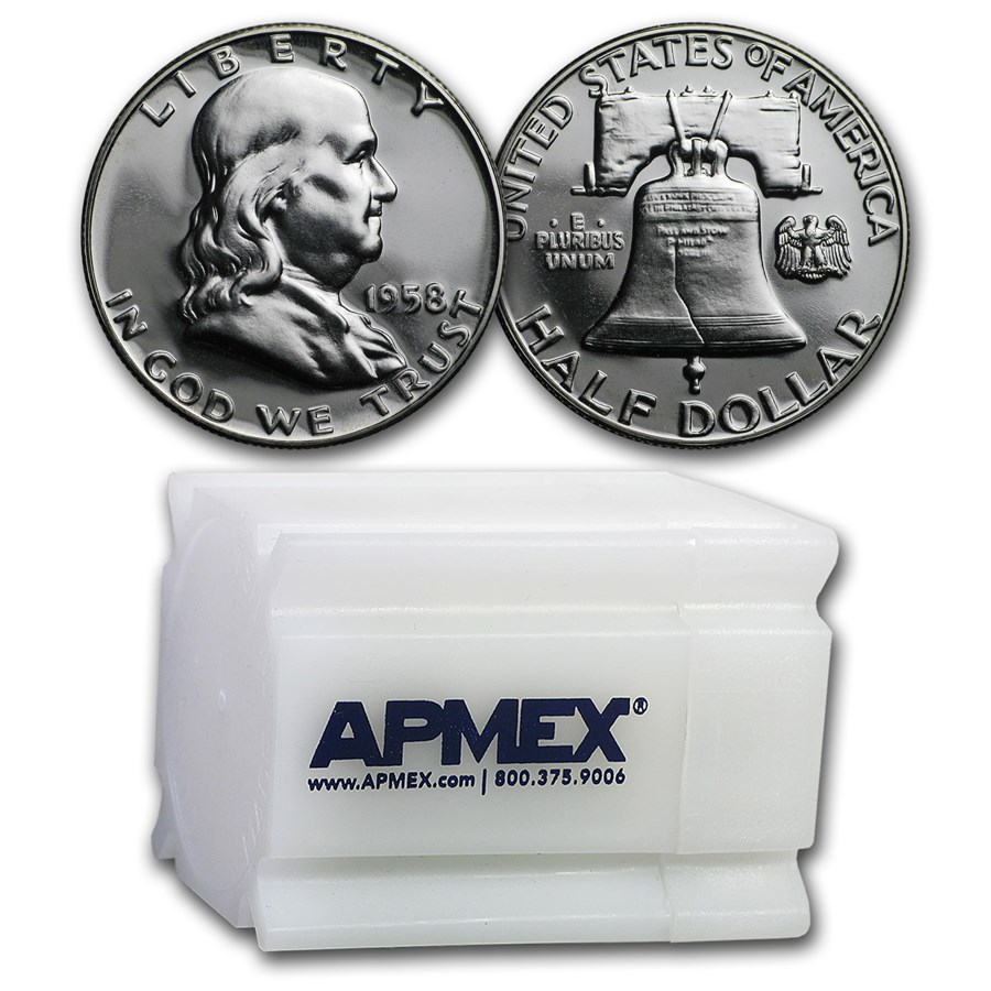 1958 Proof Franklin Half Dollar 20-Coin Roll