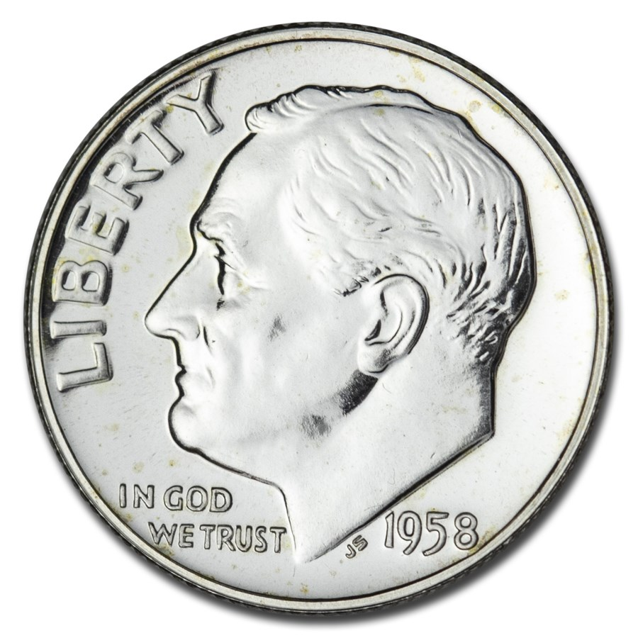 1958 Roosevelt Dime Gem Proof
