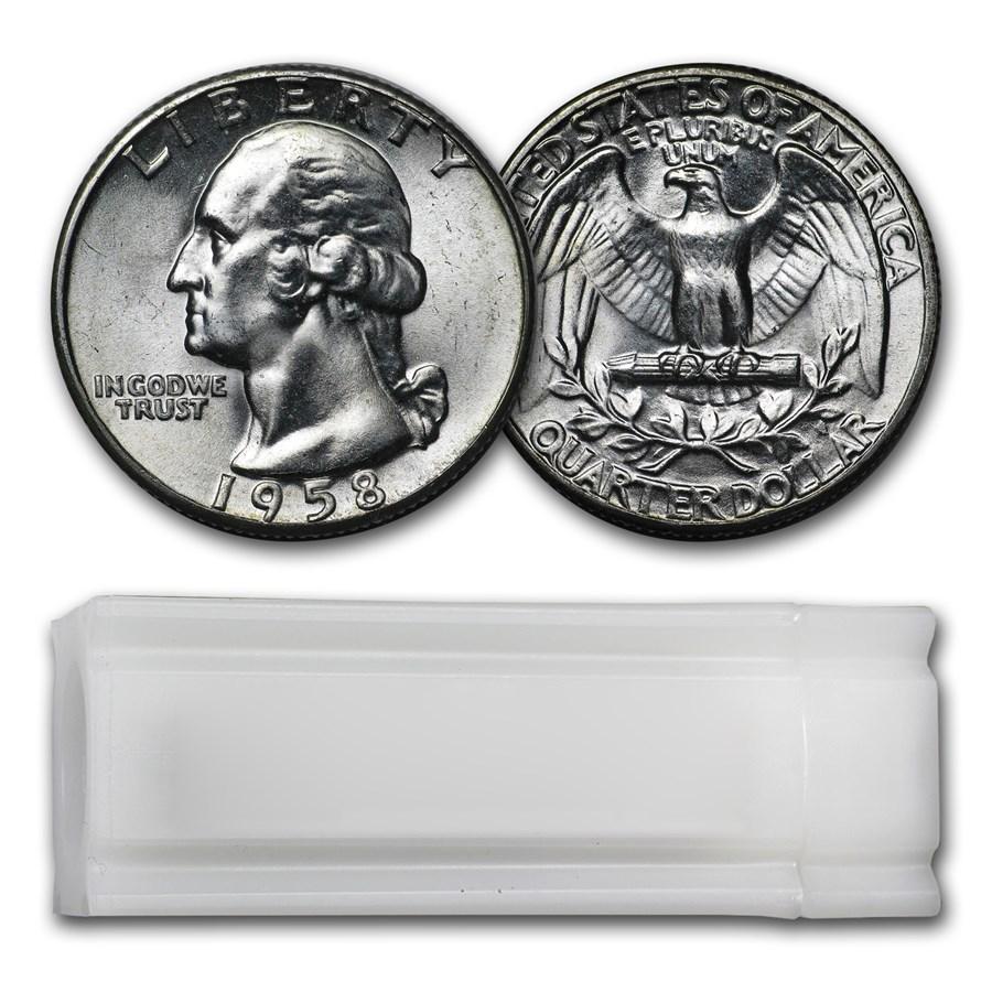 1958 Washington Quarter 40-Coin Roll BU