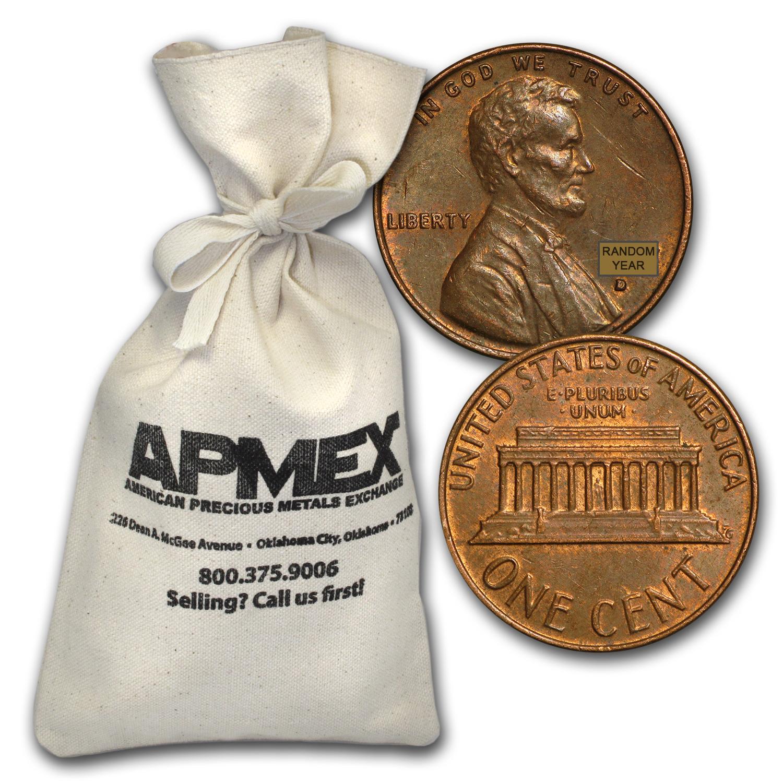 1959-1982 34LBS Bulk Bullion 2 Bags=$50 FV 5,000 Circulated 95/% Copper Pennies