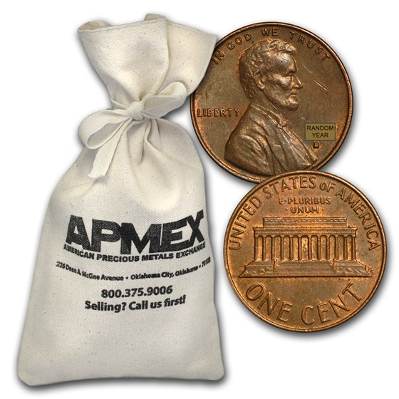 1959-1982 Copper Lincoln Cent 5000 Coin Bag ($50 FV)