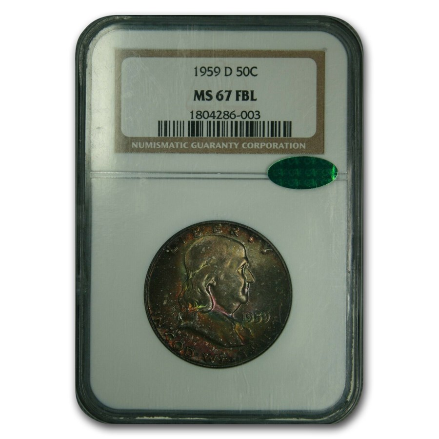 1959-D Franklin Half Dollar MS-67 NGC CAC (FBL)