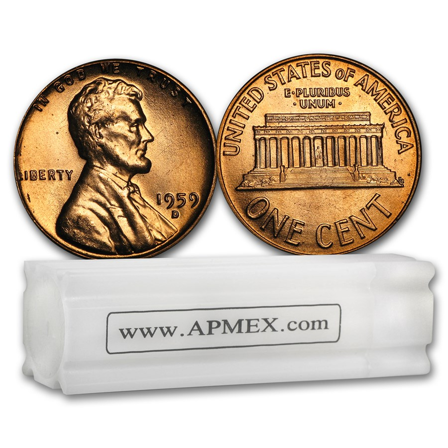 1959-D Lincoln Cent 50-Coin Roll BU