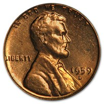 1959-D Lincoln Cent BU (Red)