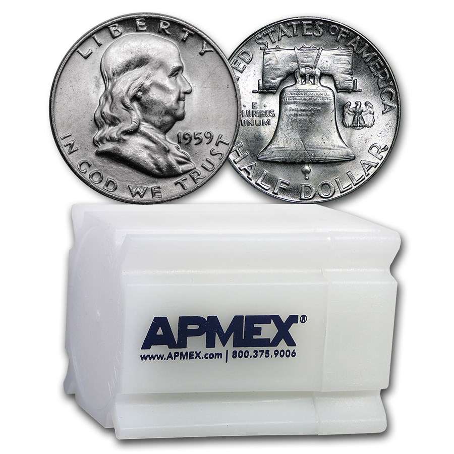 1959 Franklin Half Dollar 20-Coin Roll BU