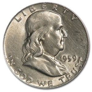 1959 Franklin Half Dollar Fine/AU