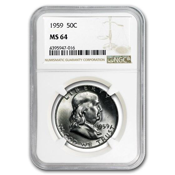 1959 Franklin Half Dollar MS-64 NGC