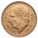 1959 Mexico Gold 10 Pesos BU (New Dies Restrike)