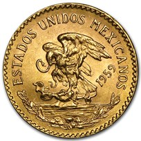1959 Mexico Gold 20 Pesos BU