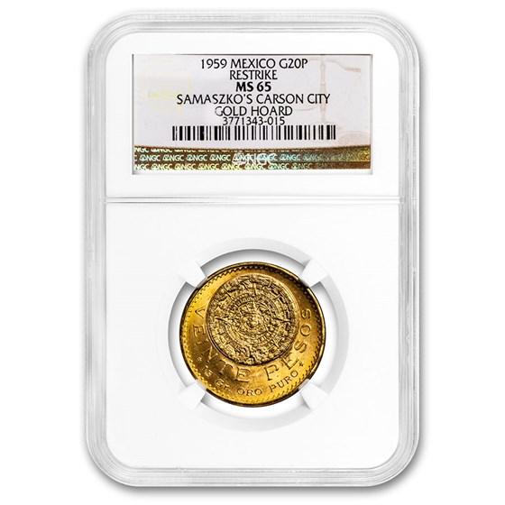 1959 Mexico Gold 20 Pesos MS-65 NGC (Carson City Cache)