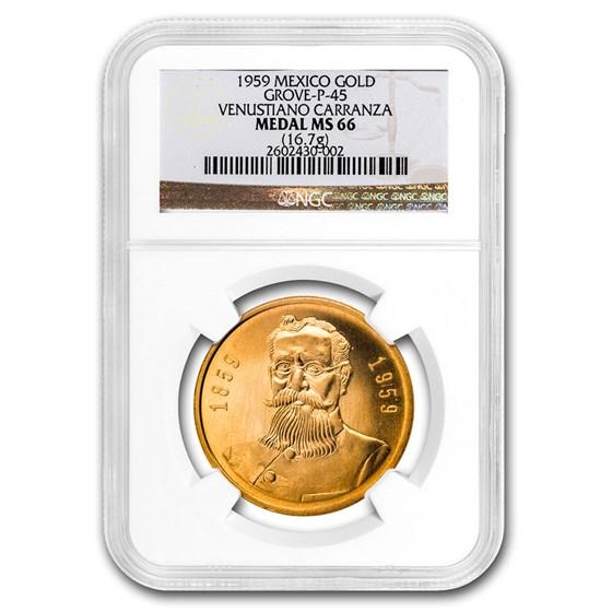 1959 Mexico Gold Medal Carranza Centenary MS-66 NGC