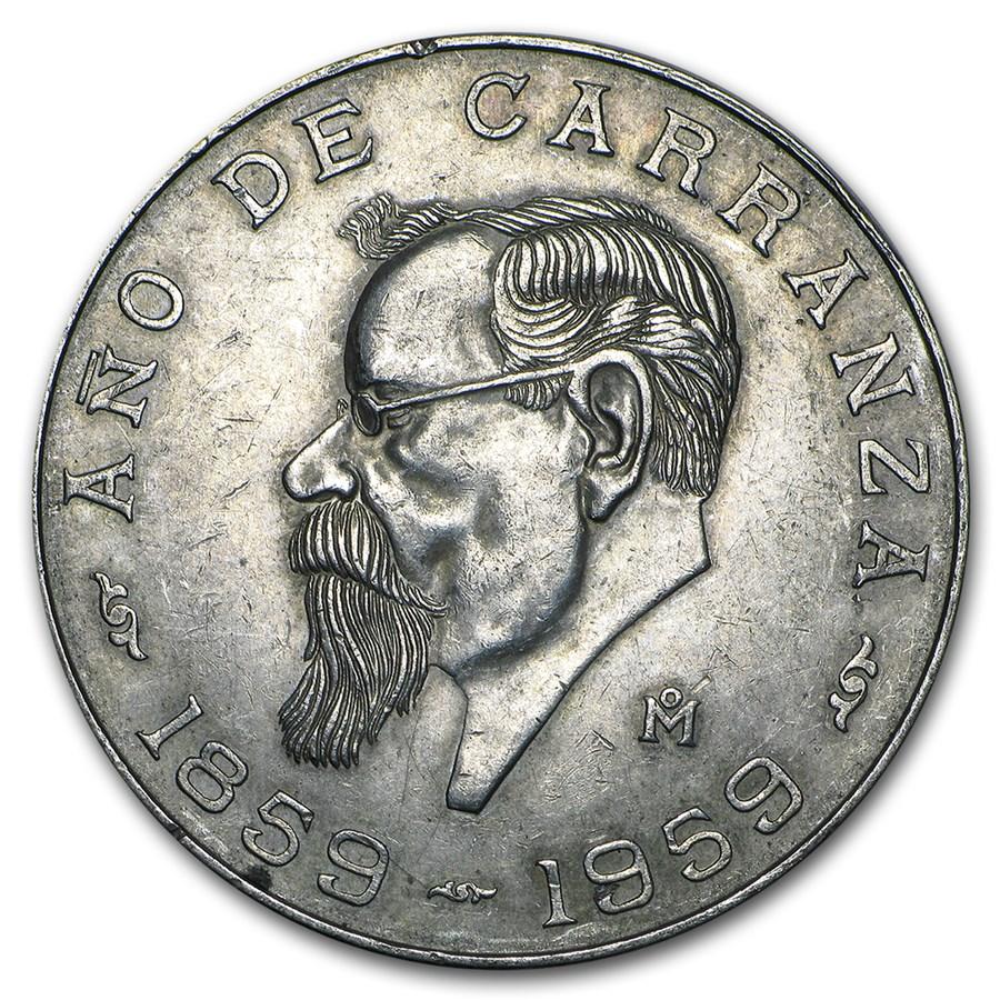 1959 Mexico Silver 5 Pesos Carranza XF-AU (ASW .4179 oz)