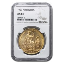 1959 Peru Gold 100 Soles Liberty MS-63 NGC