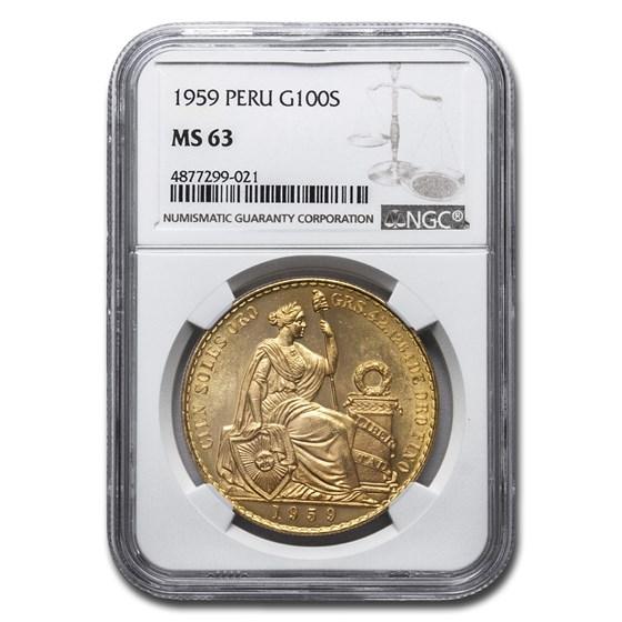 1959 Peru Gold 100 Soles Liberty MS-63 NGC