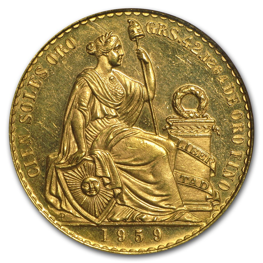 1959 Peru Gold 100 Soles Liberty MS-64 NGC