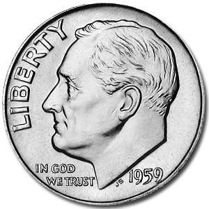 1959 Roosevelt Dime BU