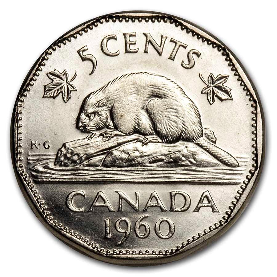 1960 Canada Nickel 5 Cents BU/Prooflike