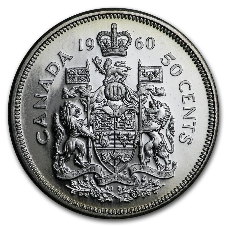 1960 Canada Silver 50 Cents Elizabeth II BU/Prooflike
