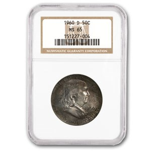 1960-D Franklin Half Dollar MS-65 NGC (End of Roll Toning)