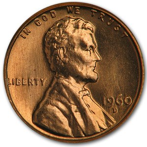 1960-D Lincoln Cent Large Date BU (Red)