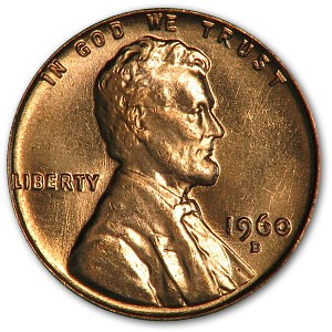 1960-D Lincoln Cent Small Date BU (Red)