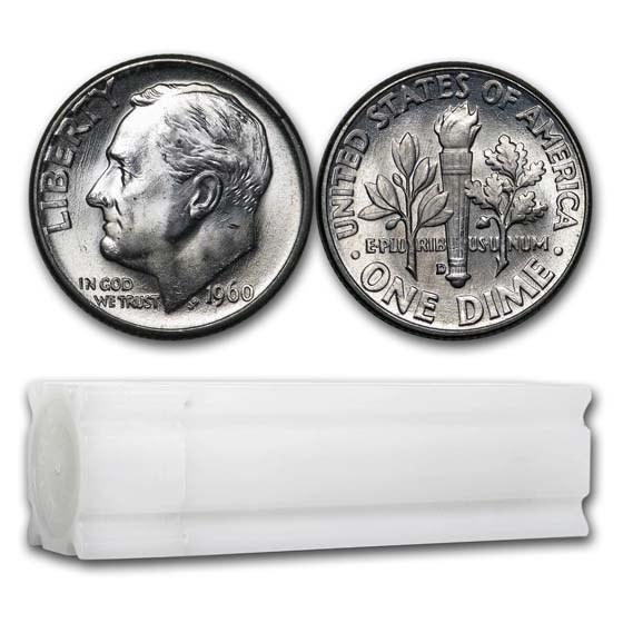 1960-D Roosevelt Dime 50-Coin Roll BU