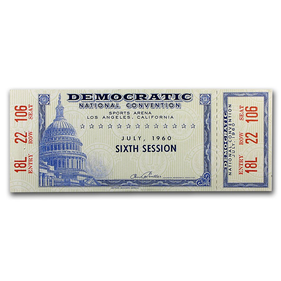1960 Democratic Convention Ticket 6th Session: John Kennedy