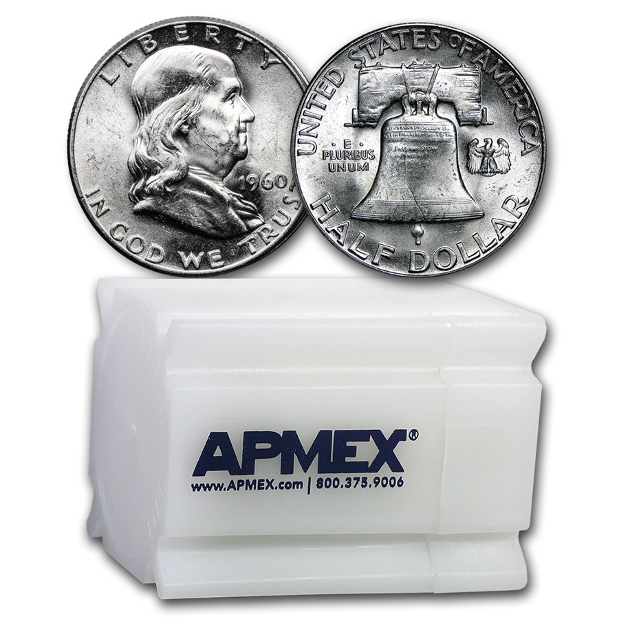 1960 Franklin Half Dollar 20-Coin Roll BU