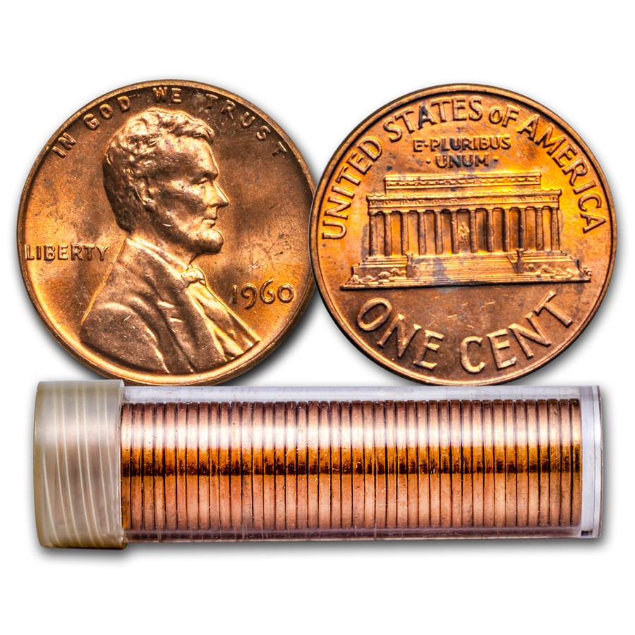 1960 Lincoln Cent Large Date 50-Coin Roll BU