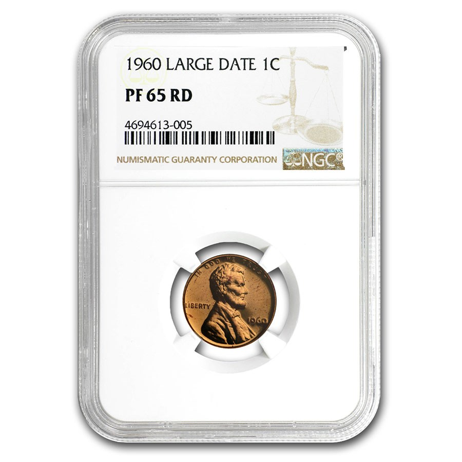 1960 Lincoln Cent PF-65 NGC (Red, Large Date)