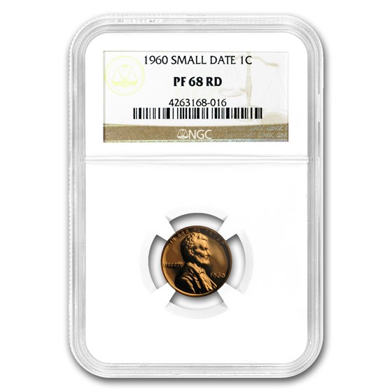1960 Lincoln Cent PF-68 NGC (Red, Small Date)