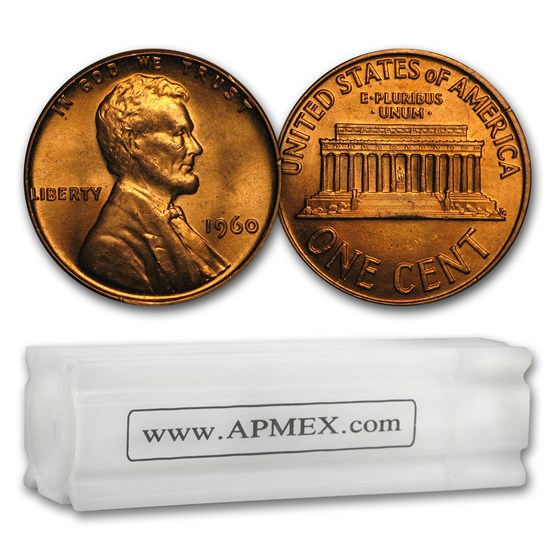 1960 Lincoln Cent Small Date 50-Coin Roll BU