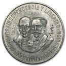 1960 Mexico Silver 10 Pesos 150th Anniversary XF-AU
