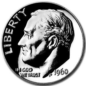 1960 Roosevelt Dime Gem Proof