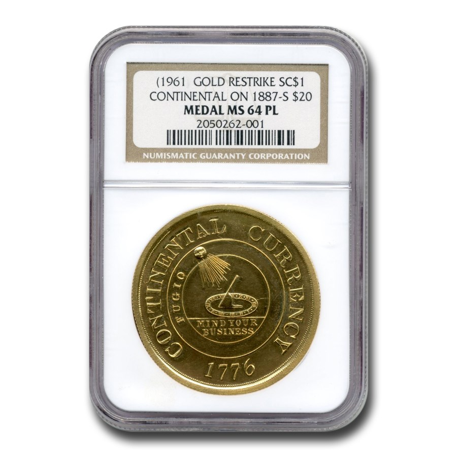 (1961) Continental Dollar Restrike on an 1887-S $20 MS-64 PL NGC
