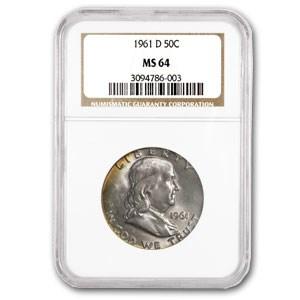 1961-D Franklin Half Dollar MS-64 NGC (Crescent Target Toned)