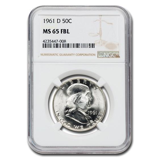 1961-D Franklin Half Dollar MS-65 NGC (FBL)