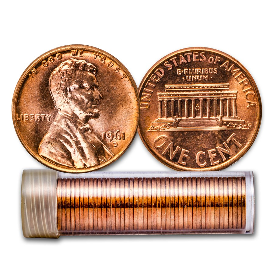 1961-D Lincoln Cent 50-Coin Roll BU