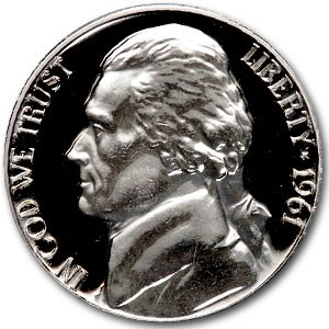 1961 Jefferson Nickel Gem Proof