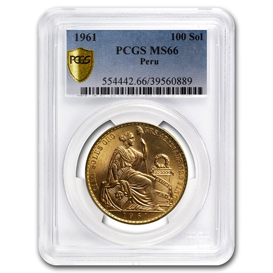 1961 Peru Gold 100 Soles Liberty MS-66 PCGS